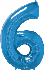 Number 6 Blue Super Shape Number Foil Balloon